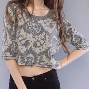 Free People Paisley Graphic Thermal Crop Top
